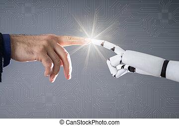 dedo, robô, tocar, human