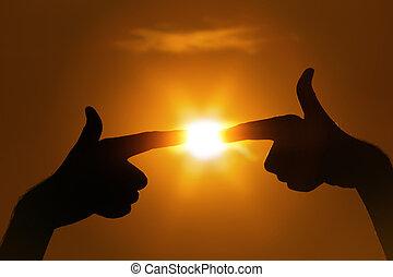 dedos, apontar, sol, gesto