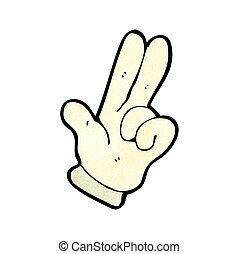 dedos, caricatura, dois