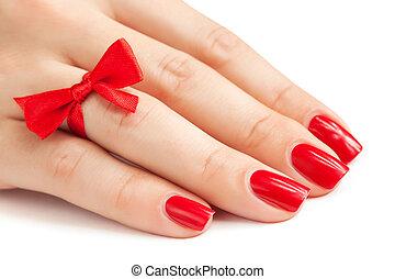 dedos, con, rojo, manicura, aislado