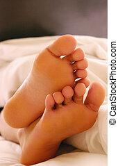 dedos del pie, soñoliento
