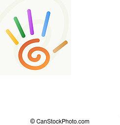 dedos, mão, espiral