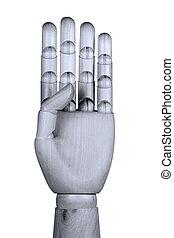 dedos, mostrando, quatro