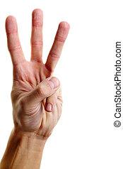 dedos, mostrando, três