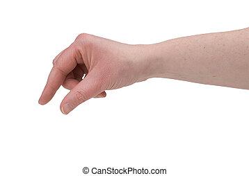 dedos, mujer, pellizcar