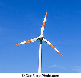 deduceert, breeze., windmolen, zomer, energie