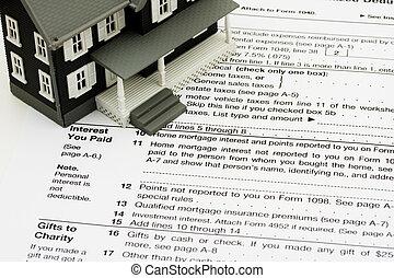 deduzir, hipoteca, interesse, ligado, impostos