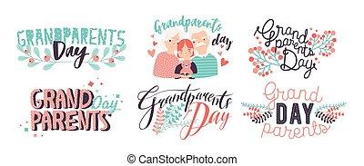 dedykacje, różny, kędzierzawy, barwny, dziadkowie, chrzcielnice, dekoracje, ręka, pociągnięty, elements., lettering., dzień