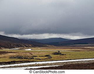 Dee river , white bridge area, Cairngorms , Scotland - Heavy...