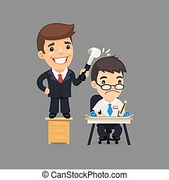 Deedful Boss and Sad Manager Teamworking on the Project
