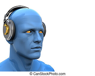 deejay - abstract 3d illustration of head with headphones...