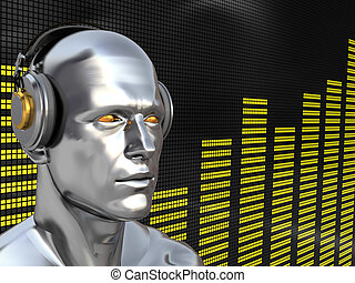 deejay - abstract 3d illustration of deejay over audio...