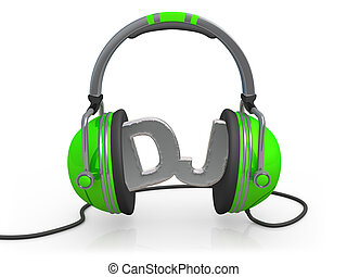 Deejay - 3d headphones with the word DJ between them .