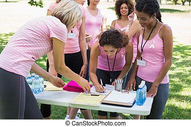deelnemers, het registreren, voor, weersta aan kanker,...