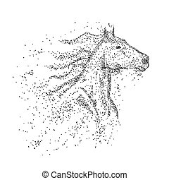 deeltje, paarde, vector, hoofd, illustratie