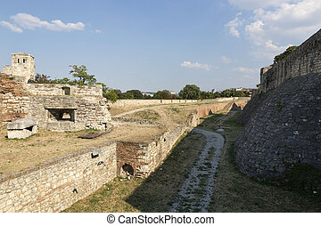 Deep and wide ditch in front of the Belgrade Fortress, Serbia