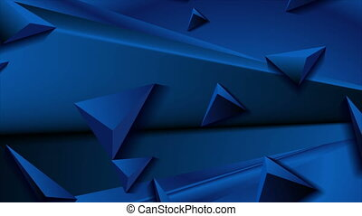 Deep blue abstract corporate motion design with 3d triangle pyramids. Geometric futuristic background. Seamless loop. Video animation Ultra HD 4K 3840x2160