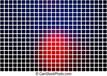 Deep blue and red abstract rounded mosaic background over white
