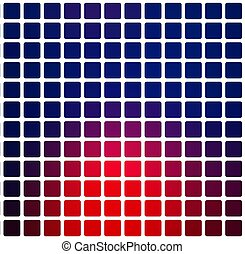 Deep blue and red rounded mosaic background over white square
