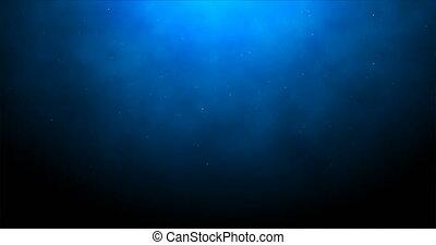 Deep blue background with illumination and falling luminous...