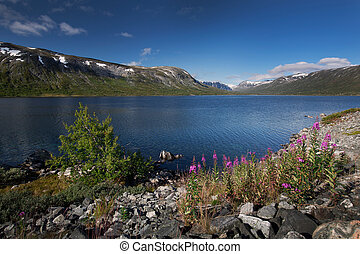 Deep blue lake Breiddalsvatnet