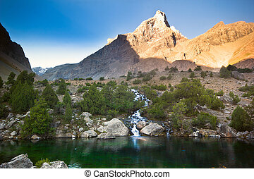 deep blue lake in mountains at sunrise