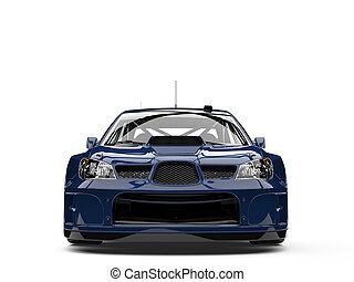 Deep blue modern touring race car - front view closeup shot