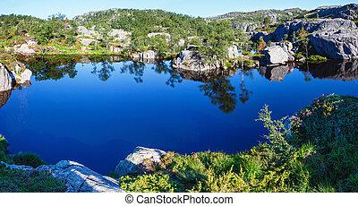 Deep blue mountain lake on Norway