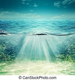 Deep blue ocean. Abstract underwater backgrounds for your design