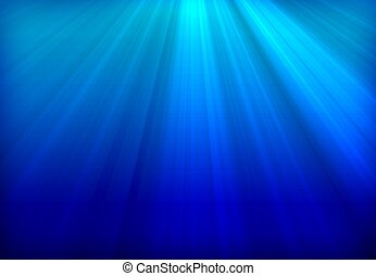 Deep Blue Ocean. Underwater illustration. Sun Rays in Deep Water. Blue Background