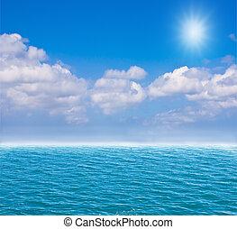 Deep blue sea and blue sky