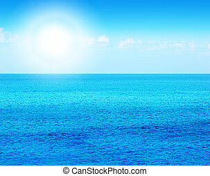 Deep blue sea background, beautiful water of nature, calm beach with sunlight