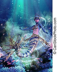 Deep Blue Sea Mermaid, 3d CG - 3D computer graphics of a...