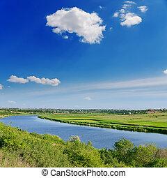 deep blue sky and river