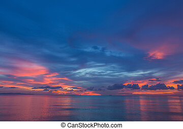 Deep blue with pnk sunset - Amazing blue with pink sunset. ...