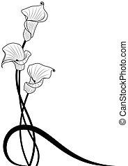 deep-bodied crevalle floral background in black and white...