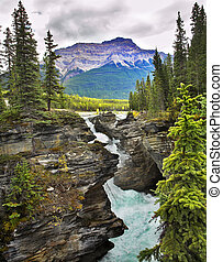 """Deep canyon - Falls """"Athabasca"""" in a deep canyon in the..."""