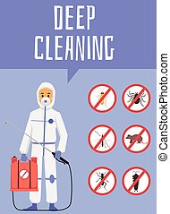 Providing deep cleaning pest control and disinsection service poster. Exterminator worker wearing special uniform banner, flat cartoon vector illustration