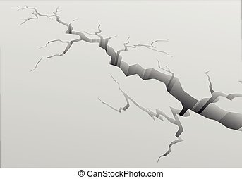 detailed illustration of a crack with long fissures on a grey ground, eps10 vector