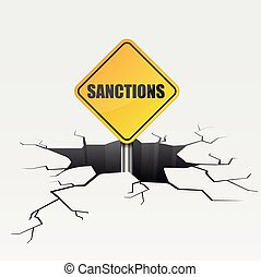 Deep Crack Sanctions - detailed illustration of a cracked...