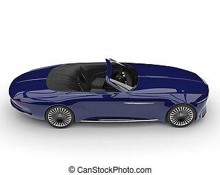 Deep dark blue modern convertible concept car - side view