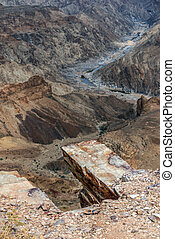 deep Fish River canyon by dry season in Namibia