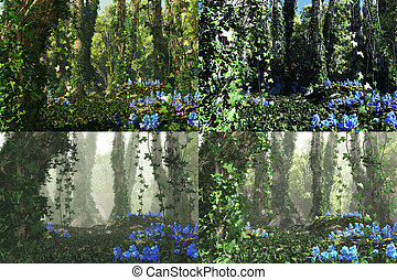 3D computer graphics of a forest with blue flowers and tree trunks full of ivy in 4 atmospheres variations