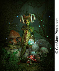 Deep Forest Elf at Night, 3d CG