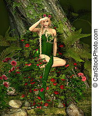 Deep Forest Fae - a decorative illustration of a fairy in...