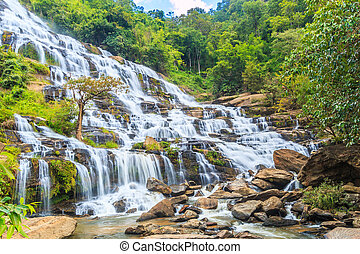 Deep forest Mae Ya waterfall at Chiang Mai Thailand
