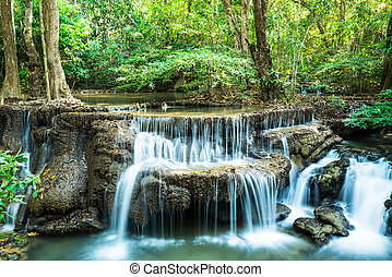 Deep forest waterfall at Huay Mae Ka Min