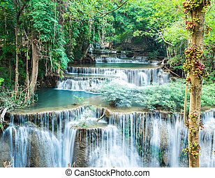 Deep forest waterfall at Huay Mae Kamin, Kanchanaburi, Thailand
