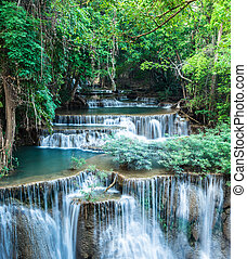Deep forest waterfall at Huay Mae Kamin