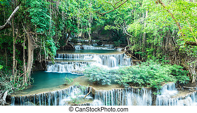 Deep forest waterfall at Huay Mae Kamin Waterfall, Kanchanaburi, Thailand